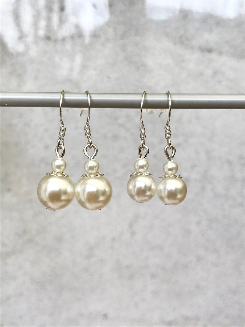 Silver Earrings With Ivory-Colored Pearl Beads