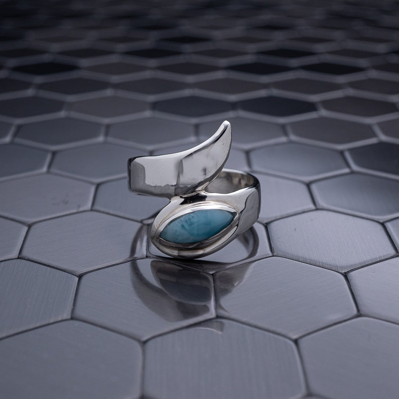Unique Larimar Ring Handmade Larimar Jewelry Larimar Ring Top Quality Larimar 925 Sterling Silver Gift for Her Mother/'s Day Gift