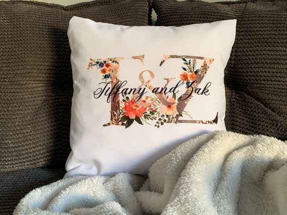 """PERSONALISED CUSHION COVER 16/""""x16/""""  INITiAL VALENTINE WEDDING GIFT BIRTHDAY"""