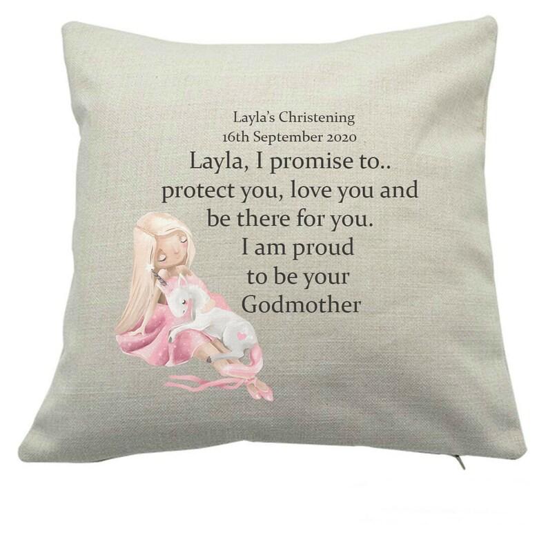 Godmother/ Godfather cushion to Goddaughter  Christening image 0