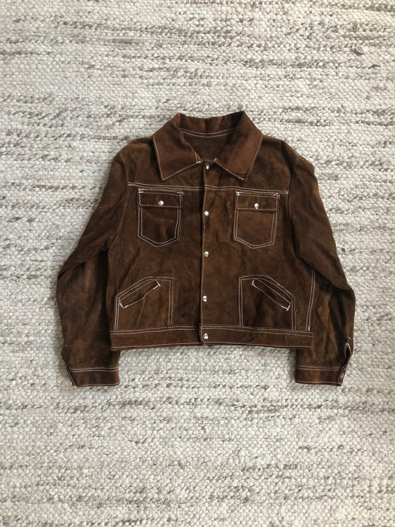 Vintage 1960s Brown Suede Trucker Jacket