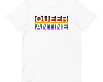 Queerantine LGBTQ Pride Flag T-shirt / Funny Gay Pride Shirt / Pride 2020 Rainbow Flag T-shirt