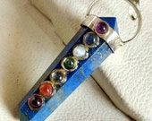 Beautiful 7 Chakra Blue Lapis Lazuli Stone Crystal 6 Faceted Double Point Pencil Necklace Pendant