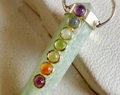 Beautiful 7 Chakra Green Aventurine Stone Crystal Double Point Pencil Necklace Pendant