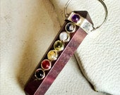 Beautiful 7 Chakra Red Jasper Stone Crystal 6 Faceted Double Point Pencil Necklace Pendant