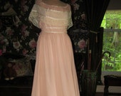 Dreamy Peach Glow Gunne Sax Vintage 1970s Prairie Peasant Maxi Dress