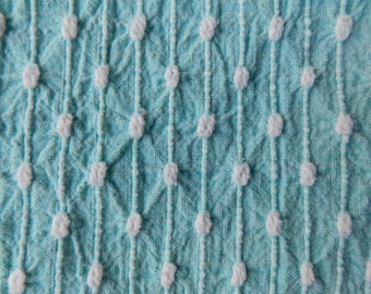 Midcentury Modern 50s Teal Bates Vintage Woven Bedspread Reversible Craft Quilt Fabric