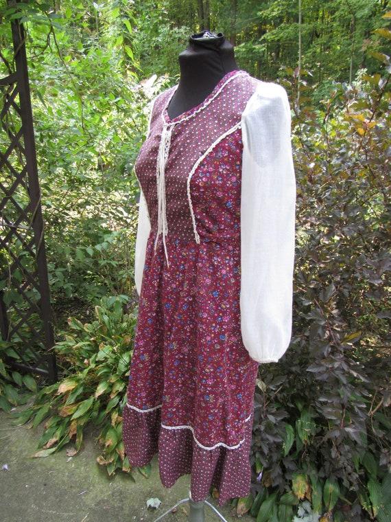 Autumn Fairy Gunne Sax Style Vintage 1970s Calico… - image 6