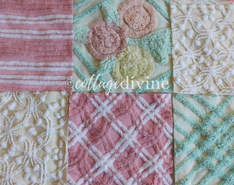 """Sunny Days Chenille Quilt Squares Set from Vintage Bedspread Fabric, 6 Blocks, 9.5"""" inch"""