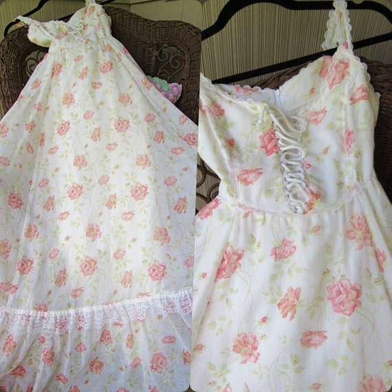 Gunne Sax Summer Peony Rose Sleeveless Vintage 197