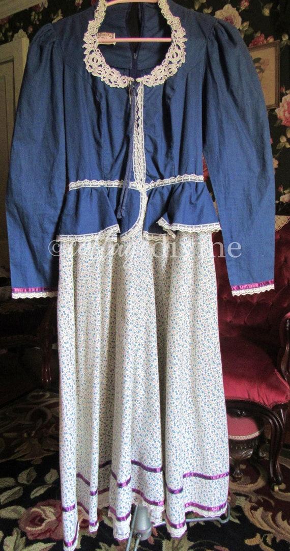 Peplum GUNNE SAX Corset Style Country Blue Vintag… - image 4