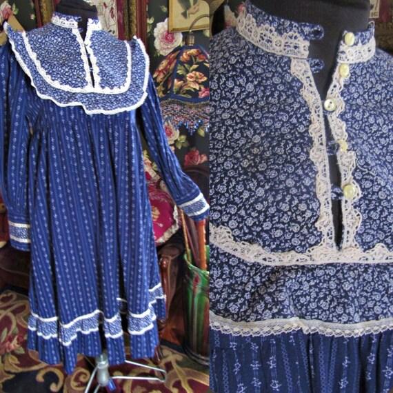 Babydoll Blue Calico Gunne Sax Victorian Vintage 1