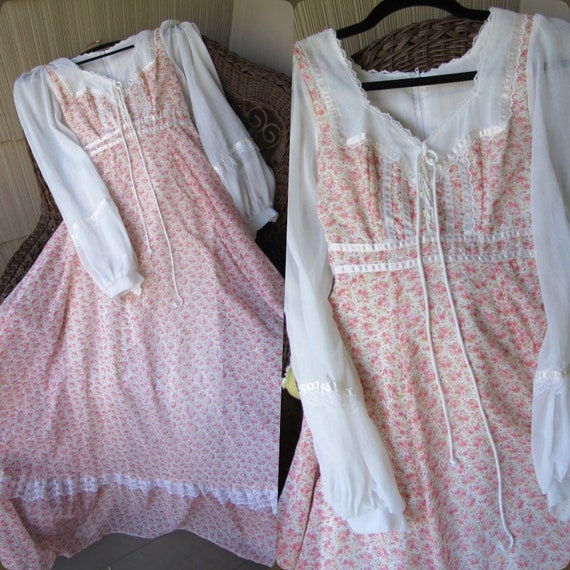 Gunne Sax Wildflower Romance Sheer Sleeve Vintage