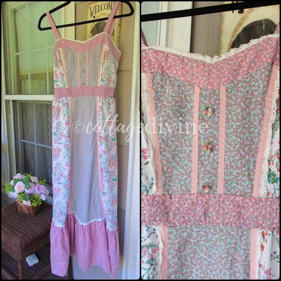 Patchwork Pink Calico Vintage Gunne Style 1970s P… - image 3