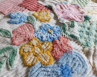 """Spring Bouquet Chenille Quilt Squares Set from Vintage Bedspread Fabric, 19 Blocks, 6"""" inch"""