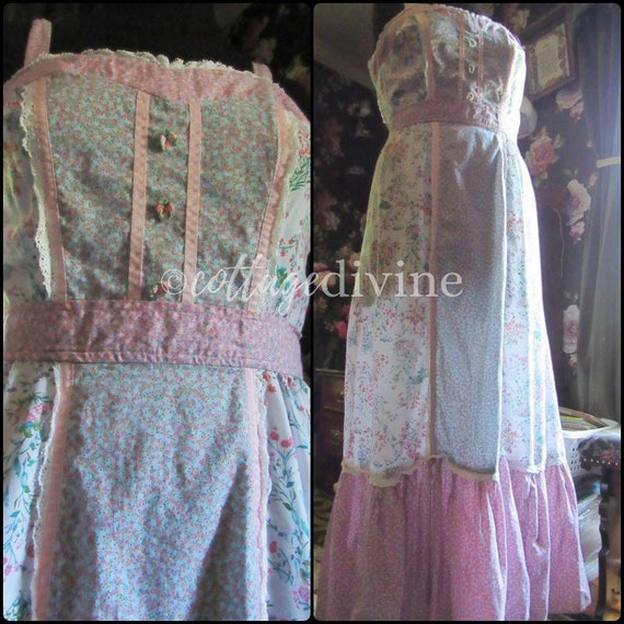 Patchwork Pink Calico Vintage Gunne Style 1970s P… - image 2