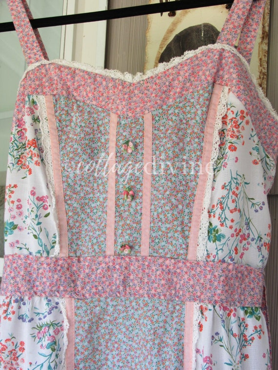 Patchwork Pink Calico Vintage Gunne Style 1970s P… - image 9
