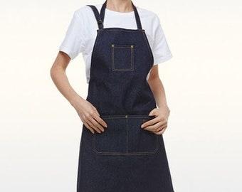 Ready to shipapron retro woman  women apron  50s apron  kitchen apron  navy blue jeans  denim Navy  kitchen apron  jeans apron