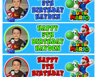 2 Personalised Super Mario Birthday Gang Kids Party Celebration Banners Posters