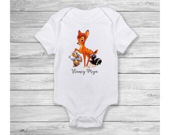 DISNEY BAMBI Personalised Baby Vest Romper Onsie Babygrow Disney Bambi Clothing Sleepsuit Disney Personalised Baby Romper