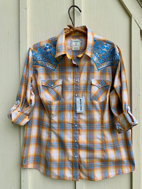 Panhandle Western wear plaid check embroidered emb