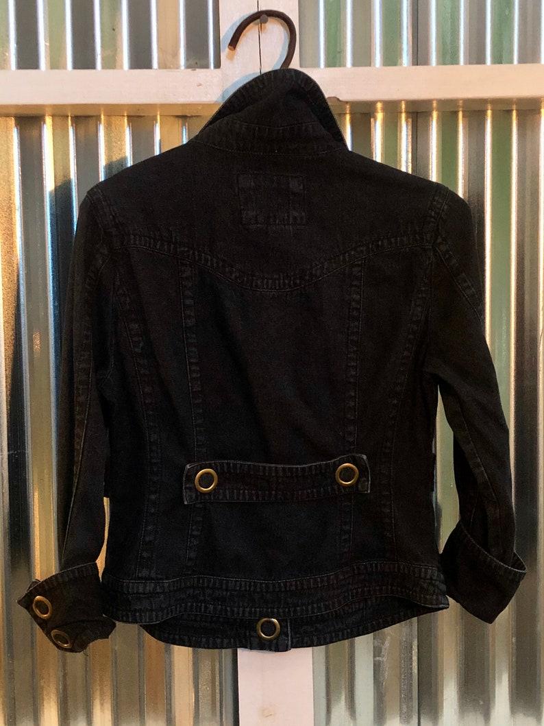 LAL Denim Darkwash Jean Jacket  Women\u2019s Size Medium Petite Live A Little Blue Black Bronze oversize oval snap detailing hardware Jacket
