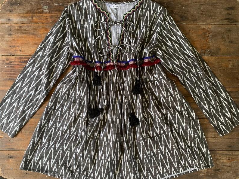 Glamorous boho aztec shirt dress   Women/'s Large  Hippie aztec chevron prairie bohemian tribal print oversize tunic tie front dress