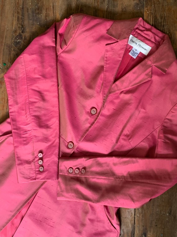 Vintage Rena Rowan hot pink silk blazer // Women's
