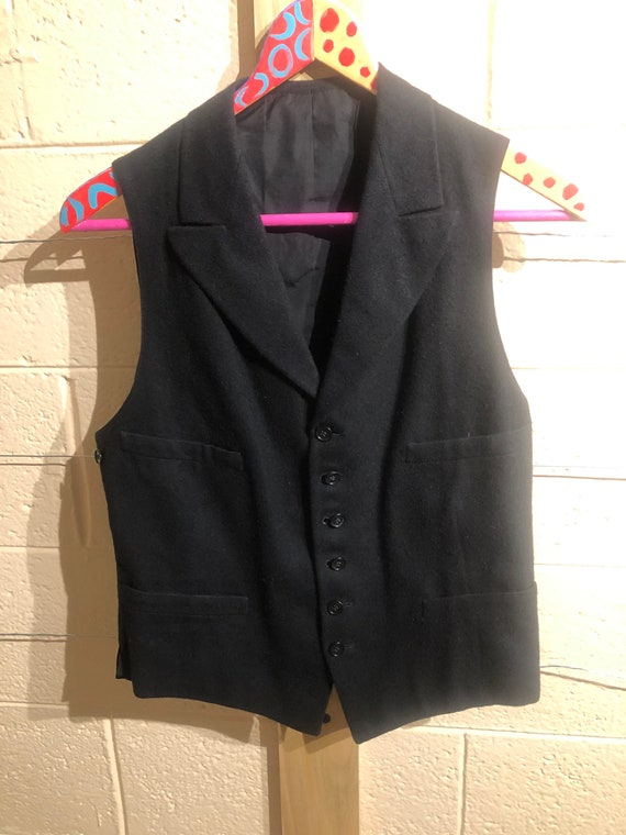 Vintage black wool and satin vest with lapels // s