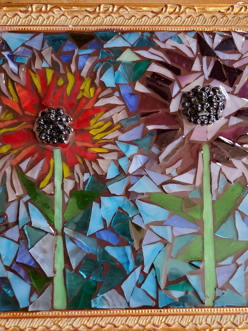 Handcrafted flower mosaic