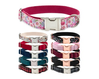Luxury Dog Collar with Strong Silver & Rose Gold Metal Buckle in Pink Floral Red Blue Black + Optional Matching Lead