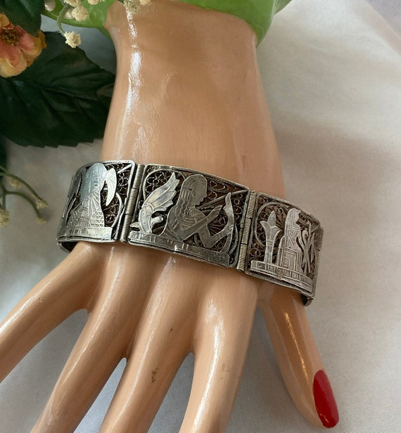 Vintage Egyptian Revival Panel Bracelet - image 1