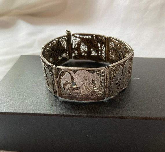 Vintage Egyptian Revival Panel Bracelet - image 2