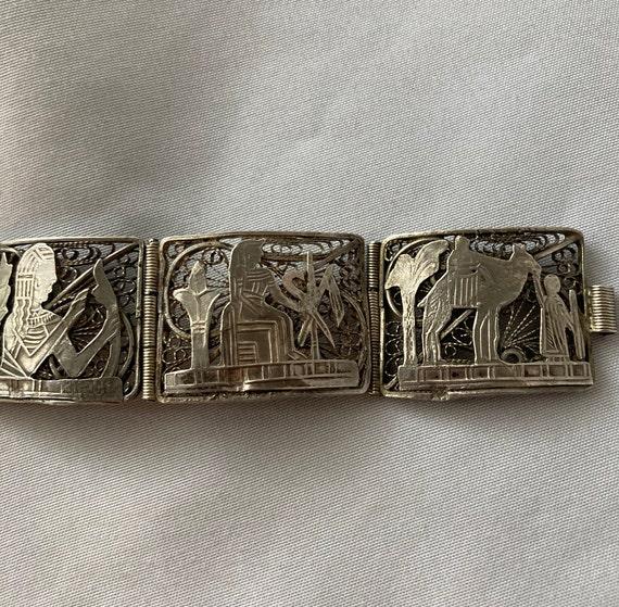 Vintage Egyptian Revival Panel Bracelet - image 7