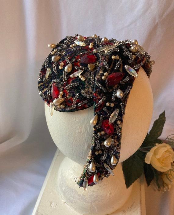 Vintage 1950's Bejeweled Cocktail Half-Hat