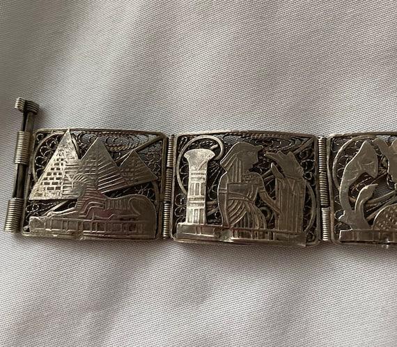 Vintage Egyptian Revival Panel Bracelet - image 8