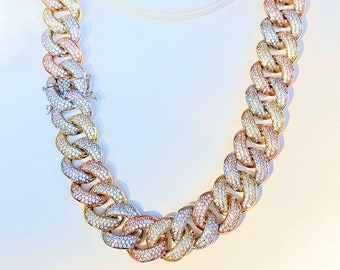 14K White Gold 5X Layered Cuban Chain Men/'s Designer Link Chain Necklace Mariner Necklace Bling Necklace Cuban Chain CZ Diamond Choker