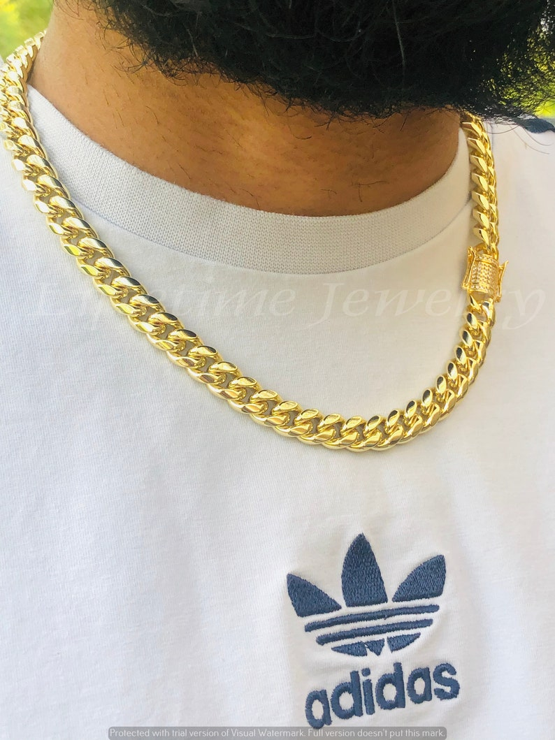 Miami Cuban Link Chain and Bracelet 8.5 Set For Men and Women 14k Gold 5X Layered steel 10mm thick 22 inch choker lifetme warranty Non Rust