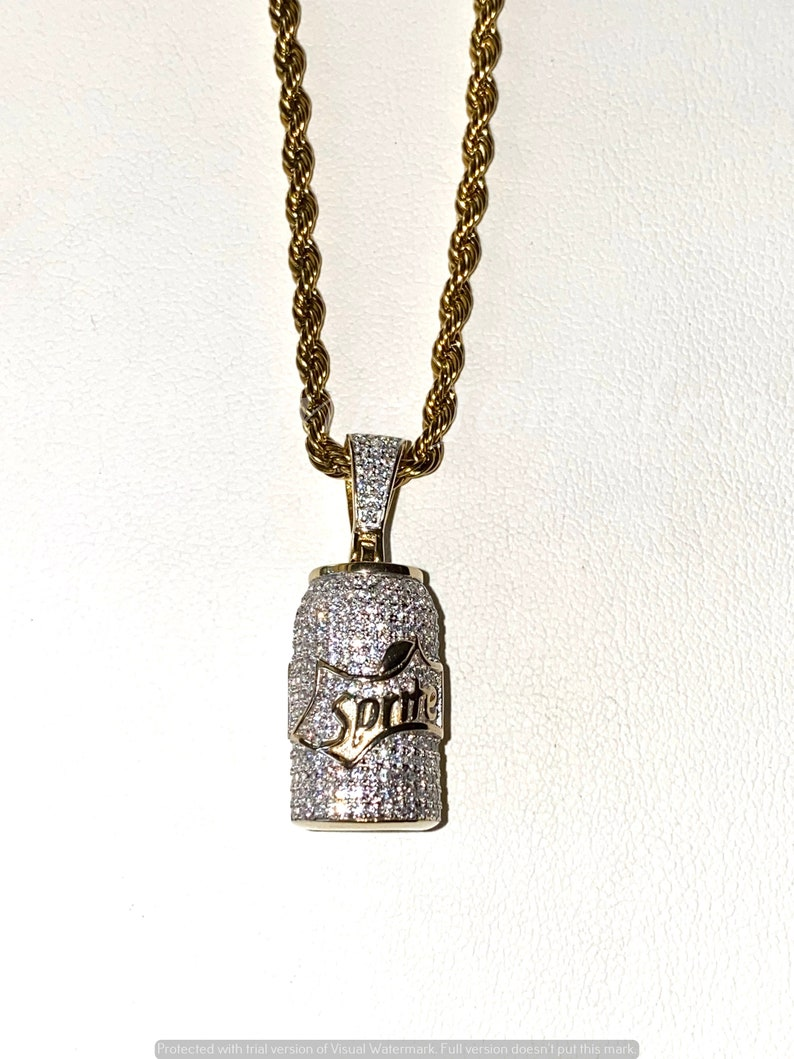 Men/'s 14k Gold 5X Layered Iced Soda Can Pendant,14k layered Stainless Steel 2mm Rope Chain 16-24Inches Chain and pendant Set