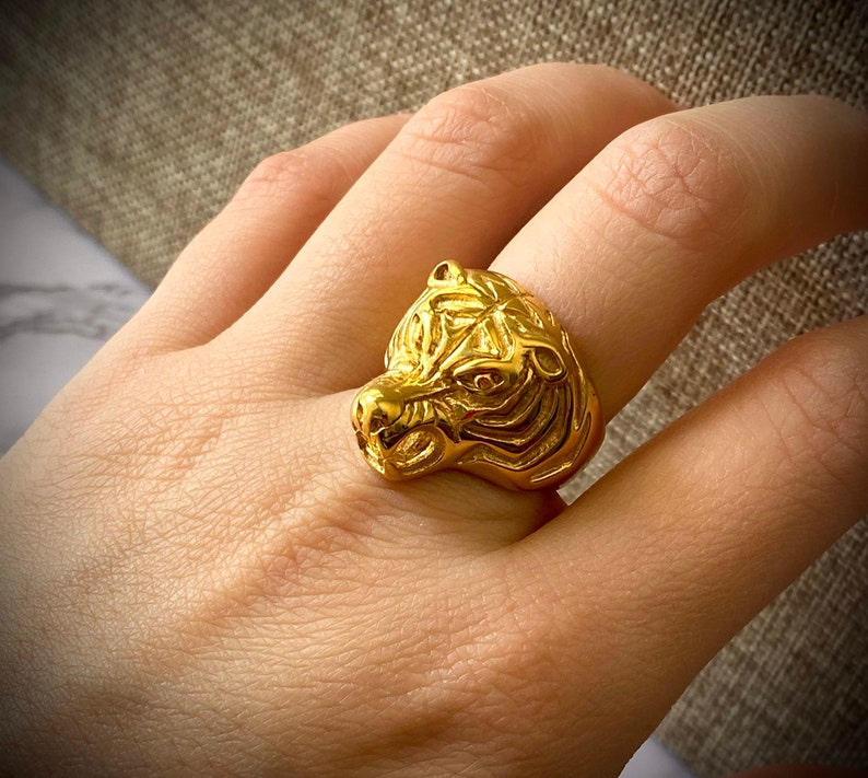 Designer Signet Ring Warranty Every Day Wear Men/'s Women/'s Tiger Ring,14k Gold 5X layered stainless steel Unisex Sizes Ring,Gift for him