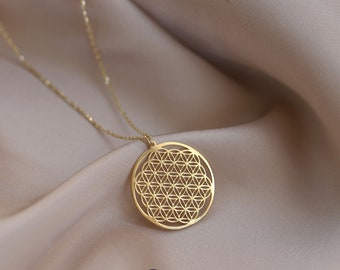 14k Gold Flower of Life Pendant, Six Petal Rosette, Gift for Her, Minimalist Gold Jewelry, Layering Chain, Gold Medallion, Symbol of Perun,