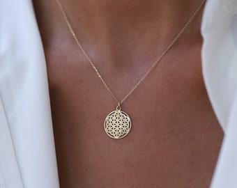 Mini 14k Gold Flower of Life Pendant, Six Petal Rosette, Gift for Her, Minimalist Jewelry, Layering Chain, Gold Medallion, Symbol of Perun