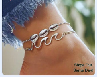 Unique gift braided anklet bracelet blue anklet set wave anklet gift for beach lovers Christmas gift Anklet set anklet for surfers