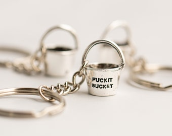 Silver Fuckit Bucket™ Keychain, Charm, or Necklace | Funny Gift | Christmas Present