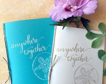Beach Wedding Vow Books set of 2, Personal Vows, Custom Wedding Calligraphy, Sand Dollar Stamp, destination wedding, teal wedding