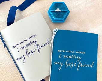 Blue Ivory Wedding Vow Books Set of 2, With these words I marry my best friend, his hers personal Vows, Custom Wedding Calligraphy