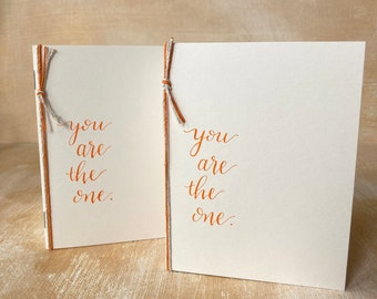 Classic Wedding Vow Books set of 2, You Are the One, Orange Cream Simple Wedding Custom Calligraphy, his hers personal vows, wedding gift
