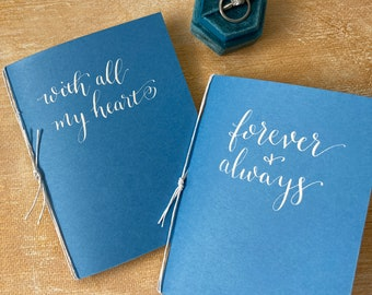 Blue Wedding Vow Books set of 2, his her personalized vows, with all my heart, always & forever, Custom Calligraphy bridal shower gift