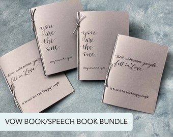Vow Books/Speech Book Bundle, You Are the One, Two Awesome People Fell in Love, Gray Black Wedding Colors, Calligraphy, Set of Two Each