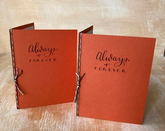 Wedding Vow Books set of 2, Always and Forever, Orange Fall Autumn Rustic Halloween Wedding Custom Calligraphy, Personal vows, his hers